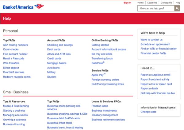 صفحه سوالات متداول بانک آمریکا