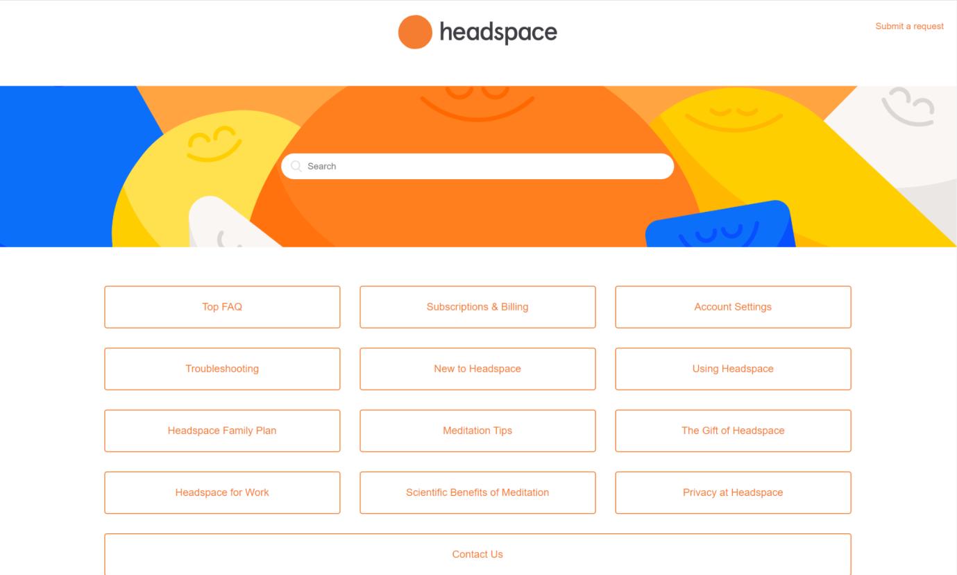 تصویری از صفحه سوالات متداول Headspace