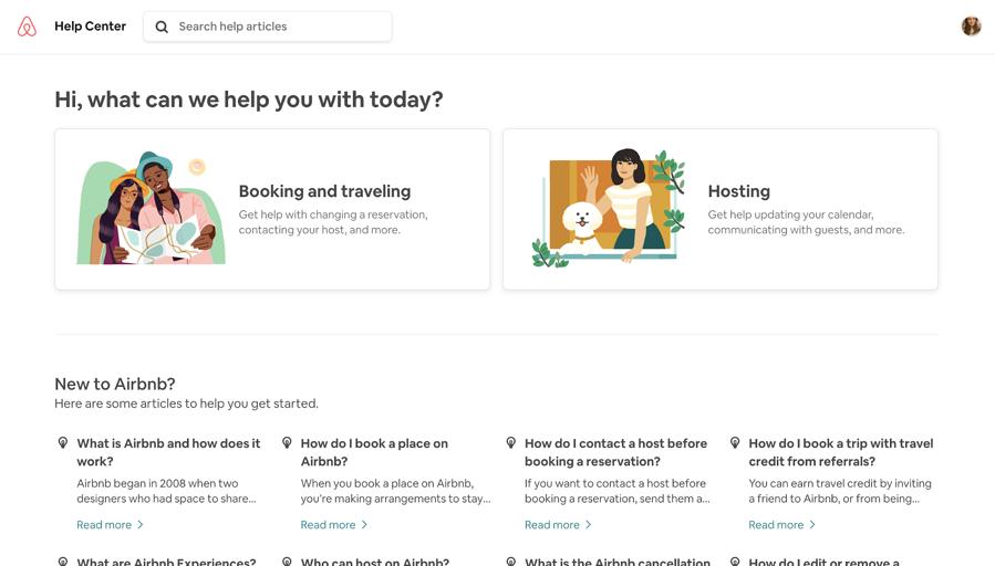 تصویری از صفحه سوالات متداول Airbnb