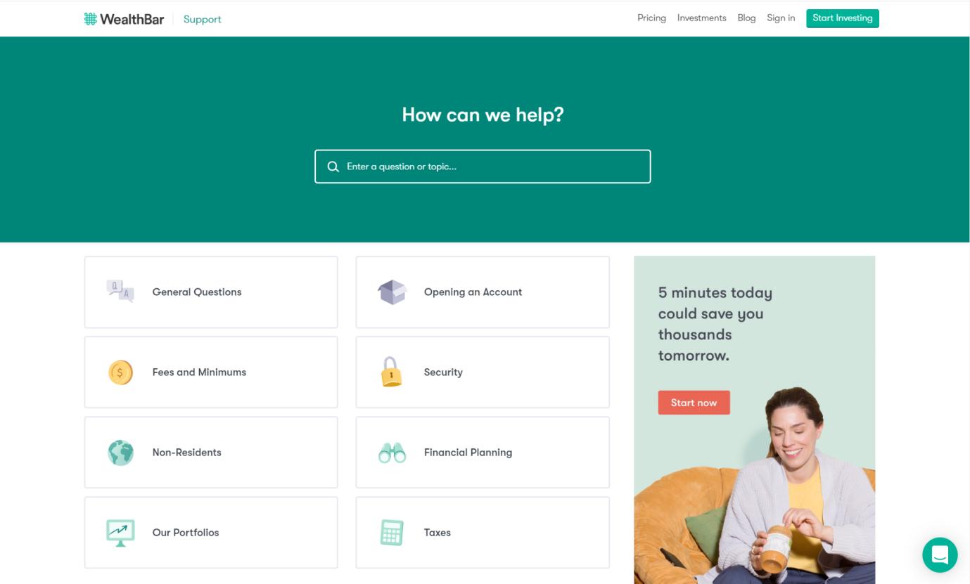 صفحه سوالات متداول Wealthbar به س سوالات رایج مشتریان پاسخ می دهد